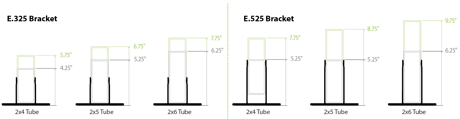 Alpha E Bracket Adjustability Chart